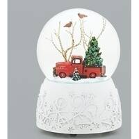"Set of 2 Musical 1948 Ford F-1 Christmas Glitter Dome 6"" - WHITE"