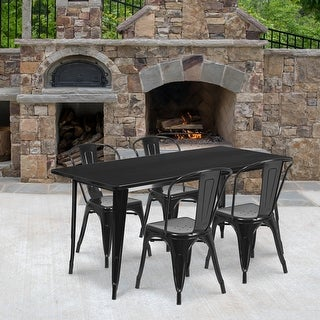 Link to 31.5'' x 63'' Rectangular Metal Indoor-Outdoor Table Set with 4 Stack Chairs Similar Items in Dining Room & Bar Furniture
