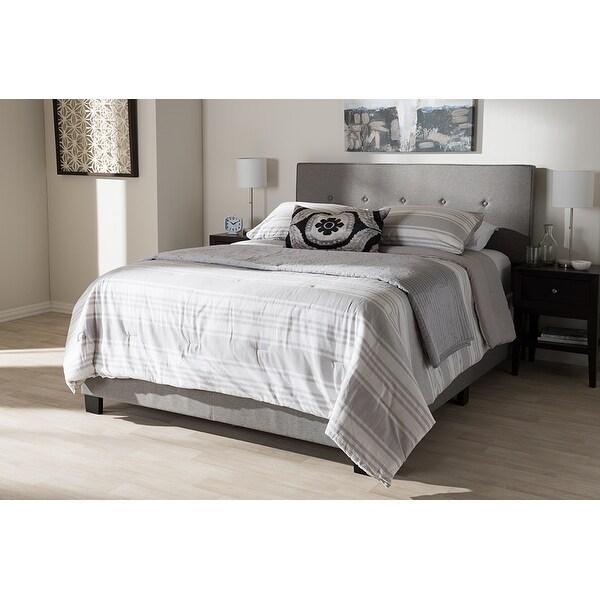 98617a2df94d Shop Hampton Light Grey Fabric Upholstered Box Spring Bed (King ...