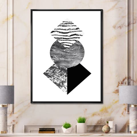 Designart 'Tropical Palm Leaf With Abstract Geometry Shapes I' Modern Framed Canvas Wall Art Print