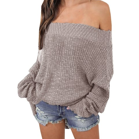 Lazy Style Loose Oversized Sweater Women Strapless