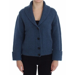 Dolce & Gabbana Blue Knitted Wool Yack Cardigan Sweater - it40-s