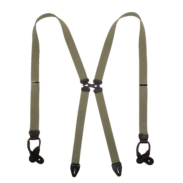 CTM® Men's Elastic Swinger Solid Color Suspender with Leather Button Ends
