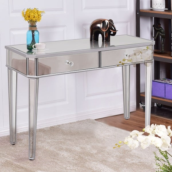 Costway 2 drawer mirrored vanity make up desk console for Furniture of america ailees contemporary glam 2 piece vanity table set with faux fur stool