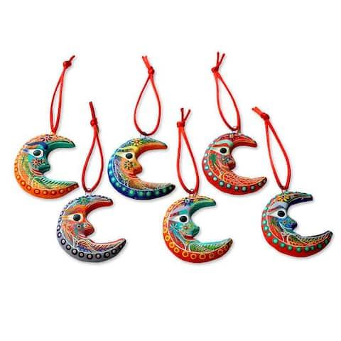 NOVICA Handmade Ceramic 'Crescent Moon' Ornaments Set of 6 (Guatemala) - 0.4