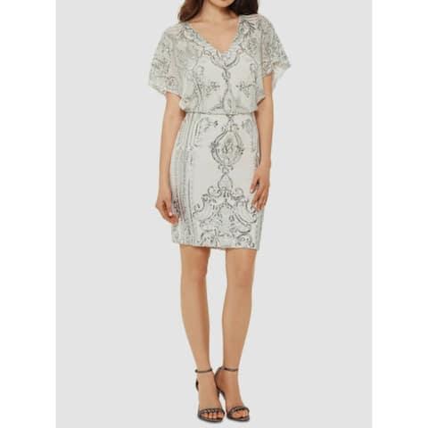 BETSY & ADAM Ivory Short Sleeve Short Dress 12