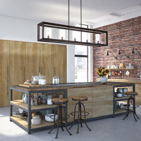 Anna Linear Metal/Glass LED Pendant, Oil Rubbed Bronze by JONATHAN Y
