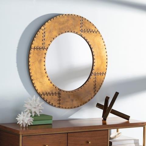 """Eustace Industrial Metal 32-inch Round Mirror - 32""""H x 32""""W"""