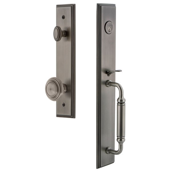 """Grandeur CARCGRCIR_ESET_234 Carre Solid Brass Rose Keyed Entry Single Cylinder Full Plate """"C"""" Grip Handleset with Circulaire"""