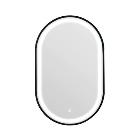OVE Decors Amani 20 in. x 32 in. Oval LED Mirror in Black finish