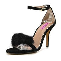 Betsey Johnson Harpur Women Open Toe Canvas Black Sandals - 9