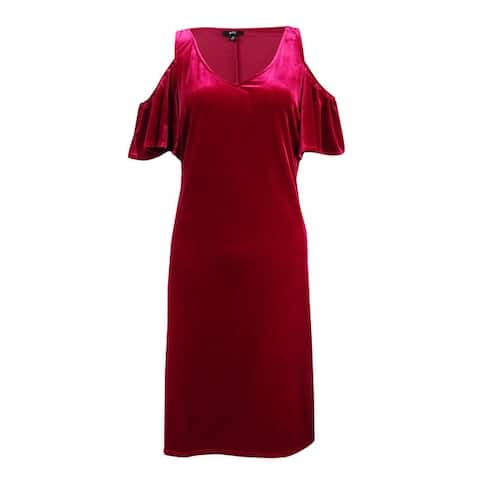 MSK Women's Velvet Ruffled Cold-Shoulder Shift Dress - Berry