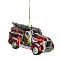 Multi-Color Glittered Glass Truck with Tree Christmas Ornament