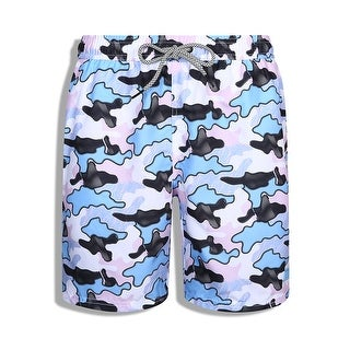Porto Filo Mens Slim Fit Quick Dry Short Floral Swim Trunks with Mesh Lining and Elastic Waist