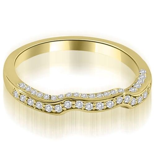0.27 cttw. 14K Yellow Gold Curved Round Cut Diamond Wedding Ring