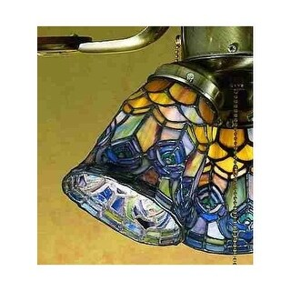 Meyda Tiffany 27459 Stained Glass / Tiffany Fan Light Kit Glassware from the Peacock Feather Collection
