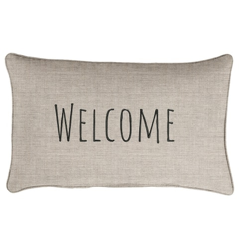 """Sunbrella Indoor/Outdoor Single Embroidered Pillow - """"Welcome"""""""