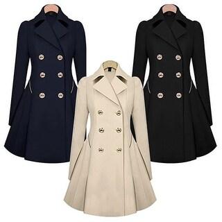 Women Lapel Long Sleeve Winter Parka Coat Trench Outwear Work Jacket