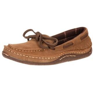 Durango Western Shoes Boys Santa Fe Suede Moccasin Desert Tan