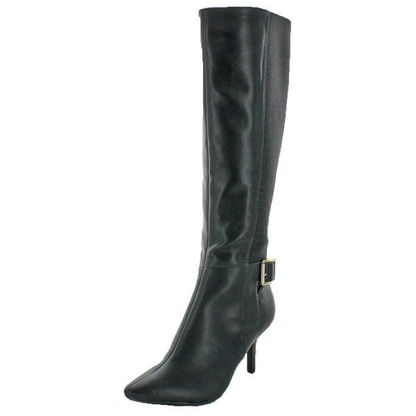 Calvin Klein Womens Julietta Knee-High Boots Leather Stretch Calf