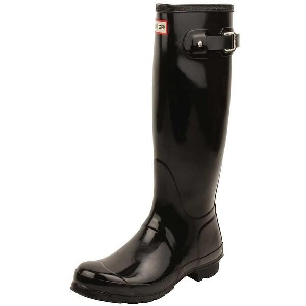 Hunter Womens Original Tall Gloss Rain Boots in Black
