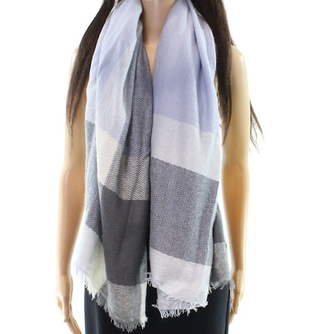 David and Young Blue White Fringe-Trim Plaid-Print Blanket Scarf
