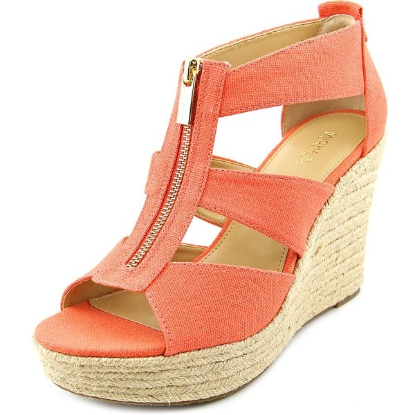 bcce6255976e Michael Michael Kors Damita Wedge Women Open Toe Canvas Orange Wedge Sandal