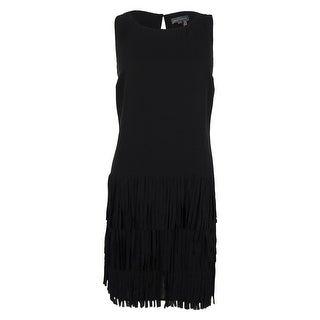 Vince Camuto Women's Sleeveless Tiered Fringe Trim Dress - rich black - S