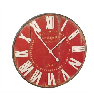 "35.5"" Distressed Brick Red with White Roman Numerals ""Antique de Paris"" Round Wall Clock"
