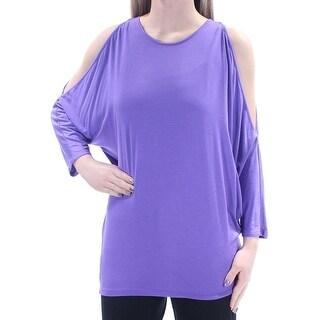 RALPH LAUREN Womens Purple Cut Out 3/4 Sleeve Jewel Neck Top Size: XS