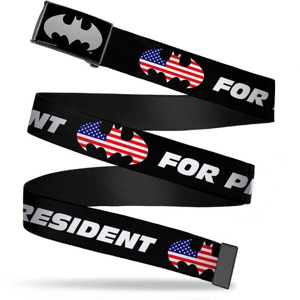 Batman Logo Reverse Brushed Silver Cam Black Batman For President Web Belt