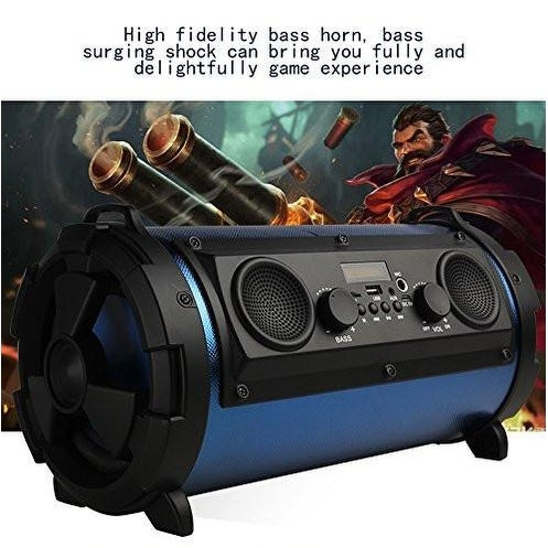 Portable Wireless Bluetooth Speaker Boombox Bass Stereo Cylinder SD FM Subwoofer