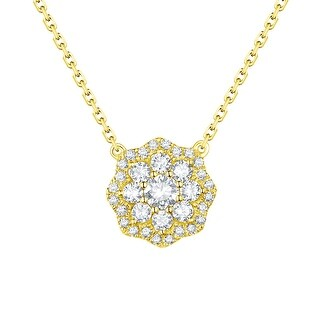 Prism Jewel 0.63Ct Natural G-H/SI1 Diamond Octagon Shape Necklace with Chain - White