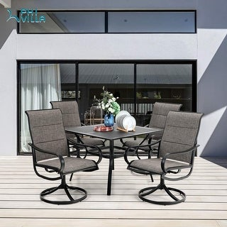 """Link to PHI VILLA Outdoor Dining Set for 4, 1 Squre Dining Tabel with 1.57"""" Umbrella Hole & 4 Patio Swivel Chairs Padded Sling Fabric Similar Items in Outdoor Dining Sets"""