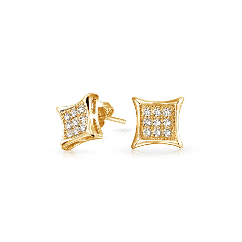 Men Women 14K Yellow Gold Over Sterling Silver Diamond Micro Pave Stud Earrings