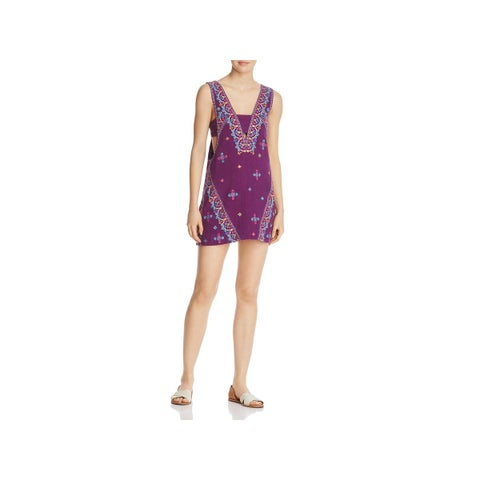 Free People Womens Mini Dress Embroidered Sequined