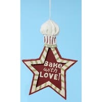 Mom's Kitchen Bake with Love Star Shape Chef Hat Christmas Ornament 6""