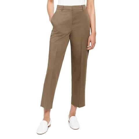 Theory Womens Straight Leg Pants High-Waist Crop