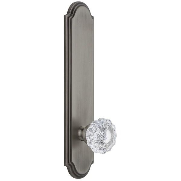 "Grandeur ARCVER_TP_PSG_238 Arc Solid Brass Tall Plate Rose Passage Door Knob Set with Versailles Crystal Knob and 2-3/8"""