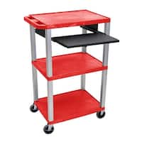 "OF-WTPS42RE-N - Offex 42"" Three Flat Shelves AV Electric Cart with Pullout - Nickel Legs, Red"