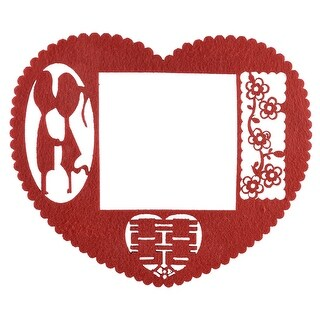 Unique Bargains Chinese Wedding Paper Cut Red Flower Heart Light Switch Cover Wall Decoration