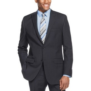 Alfani Navy Wool Blend Striped Slim Fit Sportcoat 38 Short 38S Suit-Separate
