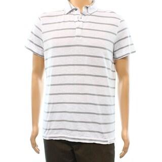 Calvin Klein NEW White Gray Striped Mens Size Large L Polo Shirt