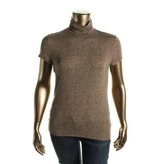 Lauren Ralph Lauren Womens Turtleneck Top Printed Short Sleeves