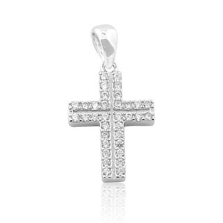 Sterling Silver Cross 2 Row CZ Mens Fashion Pendant 22mm Tall