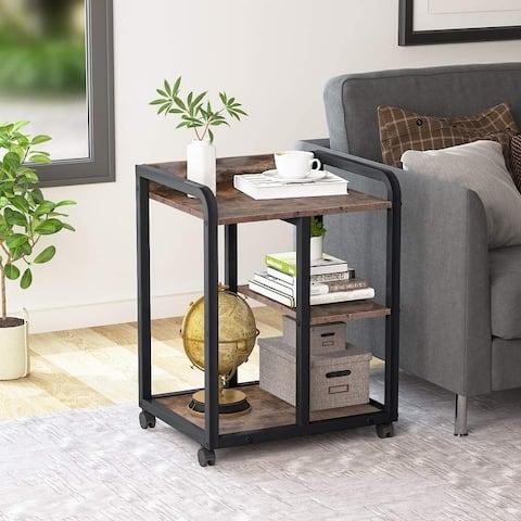 Mobile Printer Stand with Storage Shelves, 3-Shelf Rolling Printer Cart Under Desk