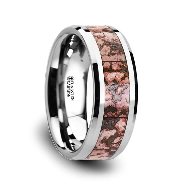 THORSTEN - ARCHEAN Pink Dinosaur Bone Inlaid Tungsten Carbide Beveled Edged Ring