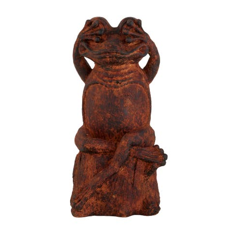 "Black And Rust Resin Sitting Frog Sculpture 9"" X 17"""