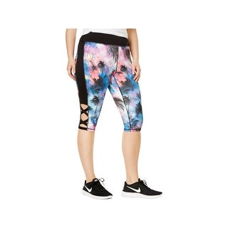 Material Girl Womens Plus Athletic Leggings Printed Capri