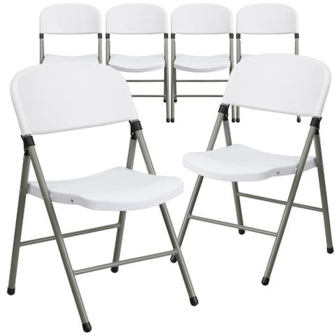 6 PK 330 lb. Capacity White Plastic Folding Chair with Gray Frame - Event Chair